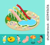 isometric aqua park with water... | Shutterstock .eps vector #603945656