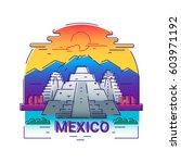 mexico   modern vector line... | Shutterstock .eps vector #603971192