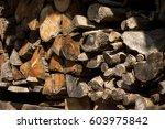 cut wood in old village   Shutterstock . vector #603975842