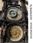 astronomical clock in prague ... | Shutterstock . vector #603989876