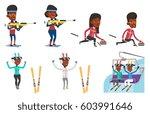 african sportswoman taking part ... | Shutterstock .eps vector #603991646