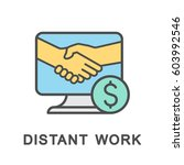 icon distant work. contractual... | Shutterstock .eps vector #603992546
