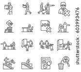 dismissal from work icons set.... | Shutterstock .eps vector #603993476