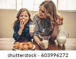 cute little girl and her... | Shutterstock . vector #603996272