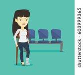 an injured asian woman with leg ... | Shutterstock .eps vector #603999365