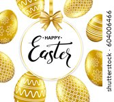 happy easter handwritten... | Shutterstock .eps vector #604006466