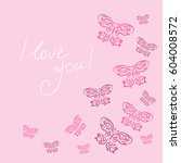 stylish card with a butterflies ... | Shutterstock .eps vector #604008572