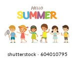 summer season happy kids boys... | Shutterstock .eps vector #604010795