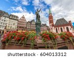 frankfurt old town with the... | Shutterstock . vector #604013312