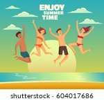 group of happy  young people... | Shutterstock .eps vector #604017686