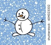 snow pattern with snowman on... | Shutterstock .eps vector #604023332