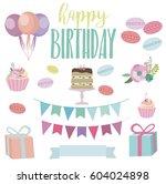 set of cute birthday elements... | Shutterstock .eps vector #604024898