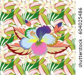 seamless colorful floral... | Shutterstock . vector #604025486