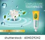 antibacterial toothpaste ads.... | Shutterstock .eps vector #604029242