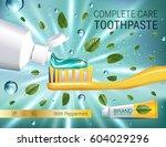 antibacterial toothpaste ads....   Shutterstock .eps vector #604029296