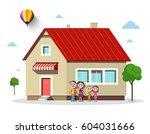 family house. vector flat... | Shutterstock .eps vector #604031666
