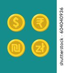 icons of gold coins with images ... | Shutterstock .eps vector #604040936