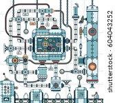 a fantastic complex steampunk... | Shutterstock .eps vector #604043252
