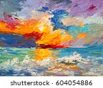 oil painting of the sea ... | Shutterstock . vector #604054886