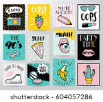 set of memphis cards for... | Shutterstock .eps vector #604057286