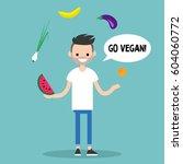 modern lifestyle. go vegan.... | Shutterstock .eps vector #604060772