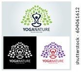 yoga nature logo design... | Shutterstock .eps vector #604061612