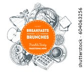 breakfasts and brunches label.... | Shutterstock .eps vector #604063256