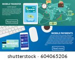 payment flat banner set with... | Shutterstock .eps vector #604065206