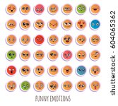 emotions. set of smiley face... | Shutterstock .eps vector #604065362