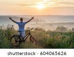 young man standing near ... | Shutterstock . vector #604065626