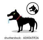 rabid dog in flat style and... | Shutterstock .eps vector #604065926