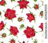 Stock vector seamless pattern with red roses beautiful realistic flowers buds and leaves 604069055