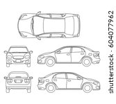 Stock vector outline sedan car vector drawing in different point of view 604077962