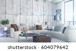 modern bright interior . 3d... | Shutterstock . vector #604079642