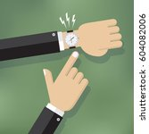 illustration of a hand pointing ... | Shutterstock .eps vector #604082006