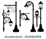 street lamp  road lights vector ... | Shutterstock .eps vector #604082096