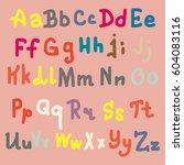 hand drawn alphabet. brush... | Shutterstock . vector #604083116