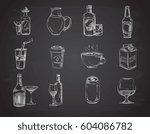 doodle drinks  wine  beer ... | Shutterstock .eps vector #604086782