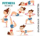woman doing fitness exercises.... | Shutterstock .eps vector #604088786