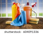 assorted cleaning products | Shutterstock . vector #604091336