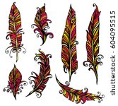 set of ornamental feather ... | Shutterstock .eps vector #604095515