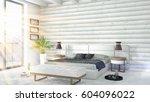 modern bright interior . 3d... | Shutterstock . vector #604096022