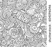 cartoon cute doodles hand drawn ... | Shutterstock .eps vector #604096046