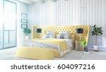 modern bright interior . 3d... | Shutterstock . vector #604097216