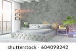 modern bright interior . 3d... | Shutterstock . vector #604098242