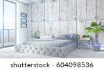modern bright interior . 3d... | Shutterstock . vector #604098536