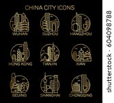 china city icon set. vector | Shutterstock .eps vector #604098788