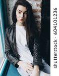 young beautiful stylish... | Shutterstock . vector #604101236