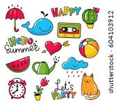 vector set of cool stickers ... | Shutterstock .eps vector #604103912