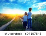 little boy and girl in the... | Shutterstock . vector #604107848